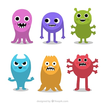 Set of monsters in different colors