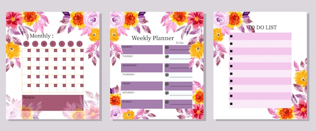 Set monthly weekly and to do list planner watercolor flower
