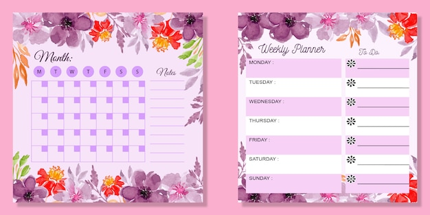 Set monthly and weekly planner watercolor floral