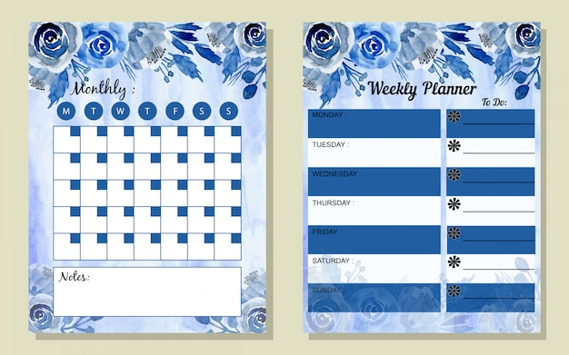 Set monthly and weekly planner watercolor style