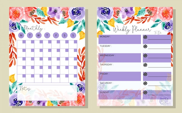 Set monthly and weekly planner with watercolor floral