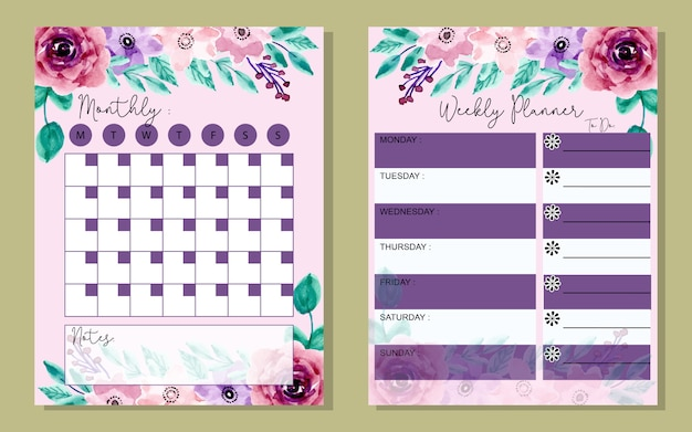 Set monthly and weekly planner with watercolor flower