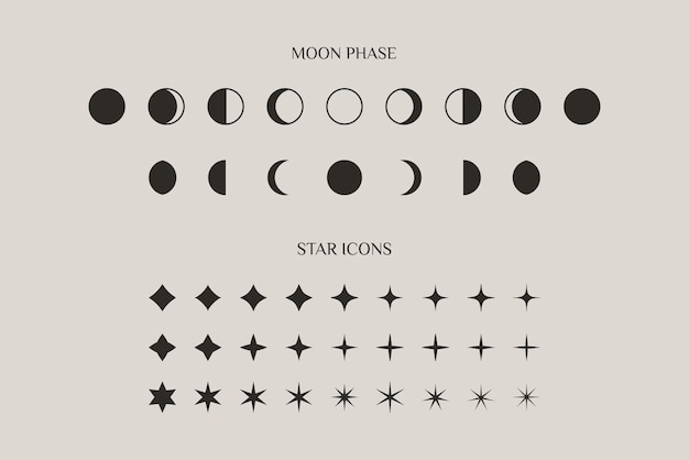 Set of moon phase and stars sparkles sign symbol in a trendy minimal style. vector icons for creating logos, patterns and web design