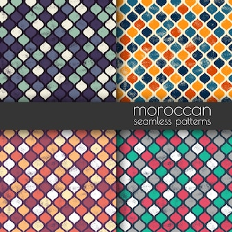 Set of moroccan grunge seamless pattern. geometric texture background.