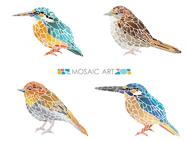 Set of mosaic little birds isolated. vector illustration.
