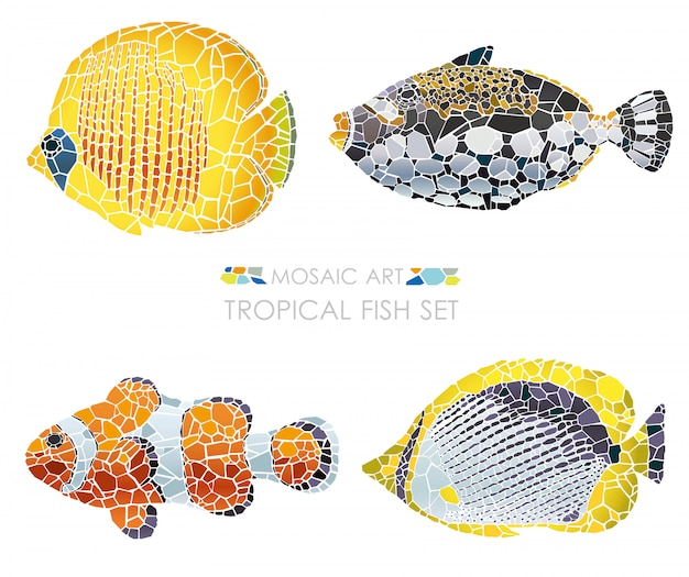 Set of mosaic tropical fishes isolated. vector illustration.