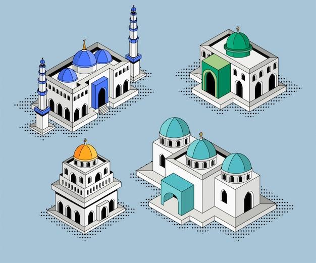 Set mosque building isometric illustration