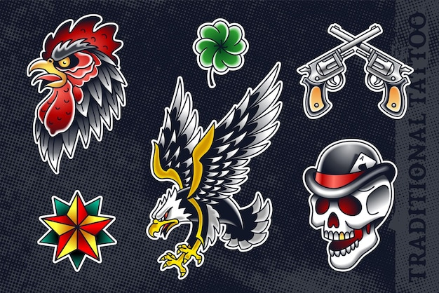 Set of most popular old school: cock, clover, revolvers, star, eagle and skull in hat.