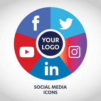 Set of most popular social media icons, twitter, youtube