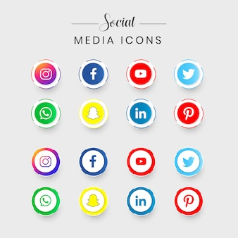 Set of most popular social media icons