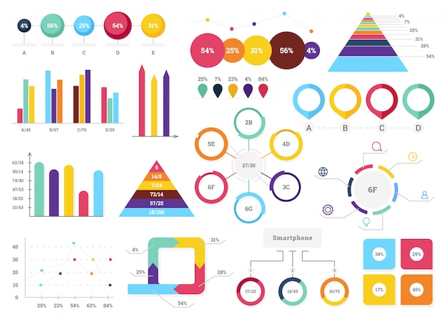 Set of most useful infographic elements - bar graphs, pie charts, steps and options