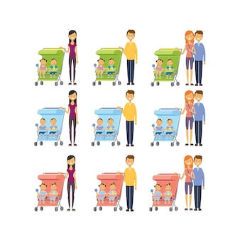 Set mother father diverse poses son daughter double twins baby in stroller full length avatar