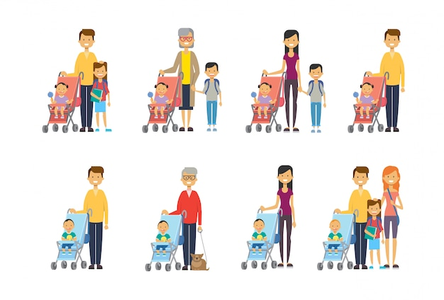 Набор мать отец бабушка разнообразные позы сын дочь малыш в коляске полная длина аватар