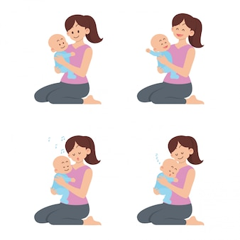 Set of mother holding happy baby with different actions in flat cartoon style