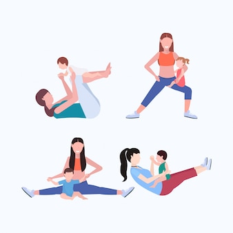 Set mother and kid doing different physical exercises sportswoman engaged in fitness or yoga with baby healthy lifestyle concept  full length