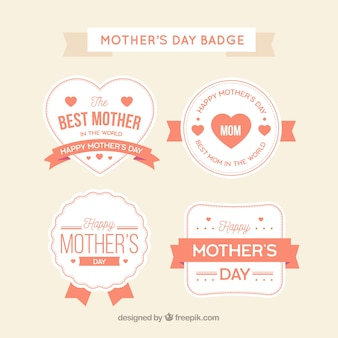 Set of mother's day badges in vintage style
