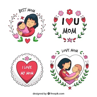 Set of mother's day badges with cute ornaments