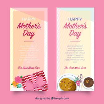 Set of mother's day banners in flat style