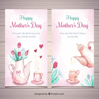 Set of mother's day banners in watercolor style