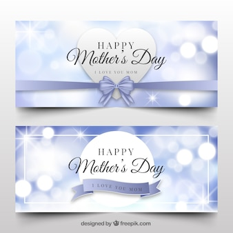 Set of mother's day banners with blurred effect