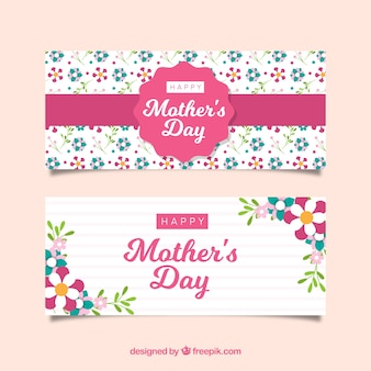 Set of mother's day banners with colorful flowers