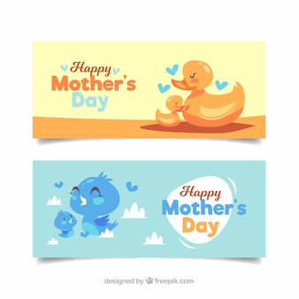 Set of mother's day banners with cute birds
