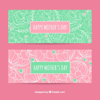 Set of mother's day banners with flowers
