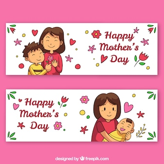 Set of mother's day banners with happy family