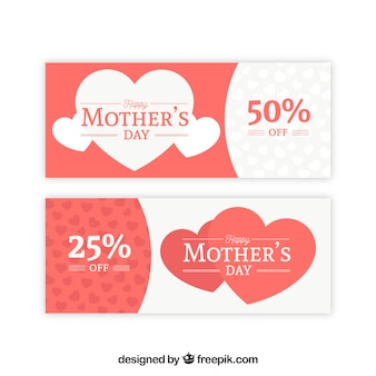 Set of mother's day banners with hearts