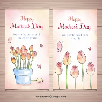 Set of mother's day banners with watercolor flowers