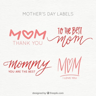 Set mother's day labels with lettering