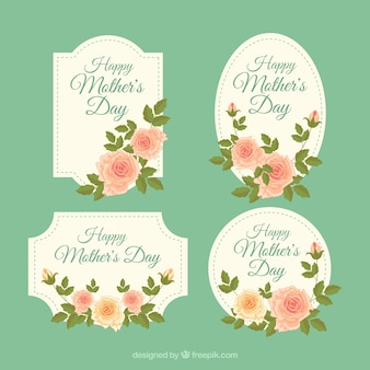 Set mother's day labels with vintage flowers