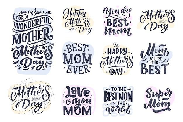 Set of mother's day lettering and abstract shapes for gift card