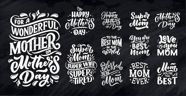 Set of mother's day lettering for gift card.