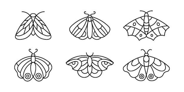 A set of moths' and butterfly icon outlines in a minimalist style. vector linear insect logos for beauty salons, manicure, massage, spa, tattoo and hand made masters.