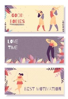 Set motivational horizontal flat banner for woman