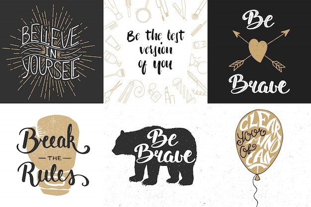 Set of motivational and inspirational lettering