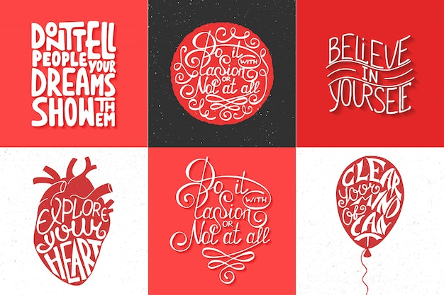 Set of motivational and inspirational typography