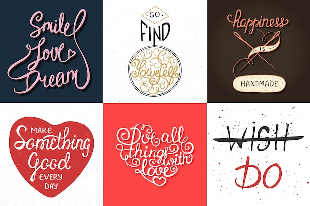 Set of motivational and inspirational vector