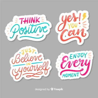Set of motivational lettering stickers