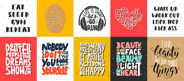 Set of motivational lettering