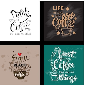 Set of motivational quotes about coffee