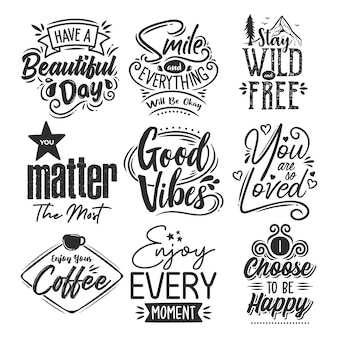 Set of motivational quotes