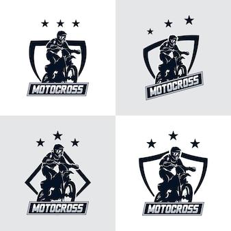 Set of motocross freestyle logo badge