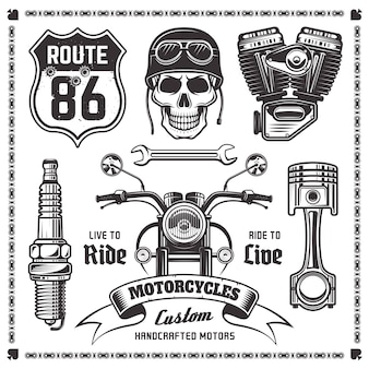 Set of motorcycle and attributes of bikers