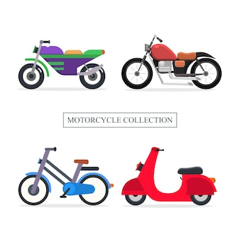 Set motorcycle collection illustration