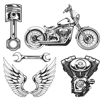 Set of motorcycle elements