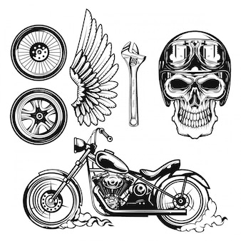 Set of motorcycle elements