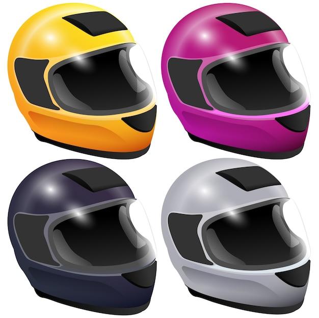白い背景の3dアイコンで隔離のオートバイのヘルメットを設定します。漫画イラスト