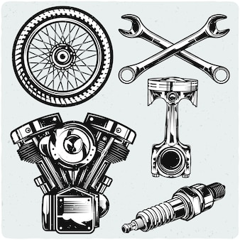Set of motorcycle parts